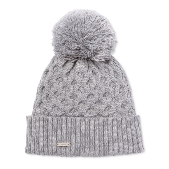 b80ca456548 Calvin Klein Honeycomb Gray Cable-Knit Beanie Hat